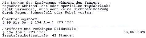 """Faksimile der Strafverfügung zu """"Licht am Tag"""""""