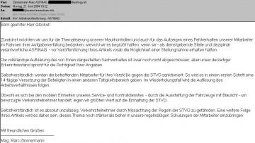 """Stellungnahme ASFINAG zur rechtswidrigen """"Blaulichtfahrt"""""""
