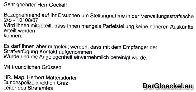 Faksimile der Stellungnahme von Hofrat Mag. Herbert Mattersdorfer