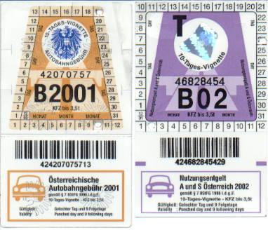 Autobahnvignetten 2001 & 2002