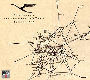 Streckennetz Lufthansa 1928