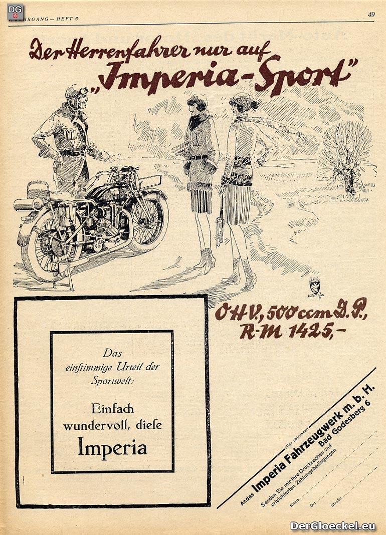 Motorrad Imperia Sport 500 ccm aus 1928