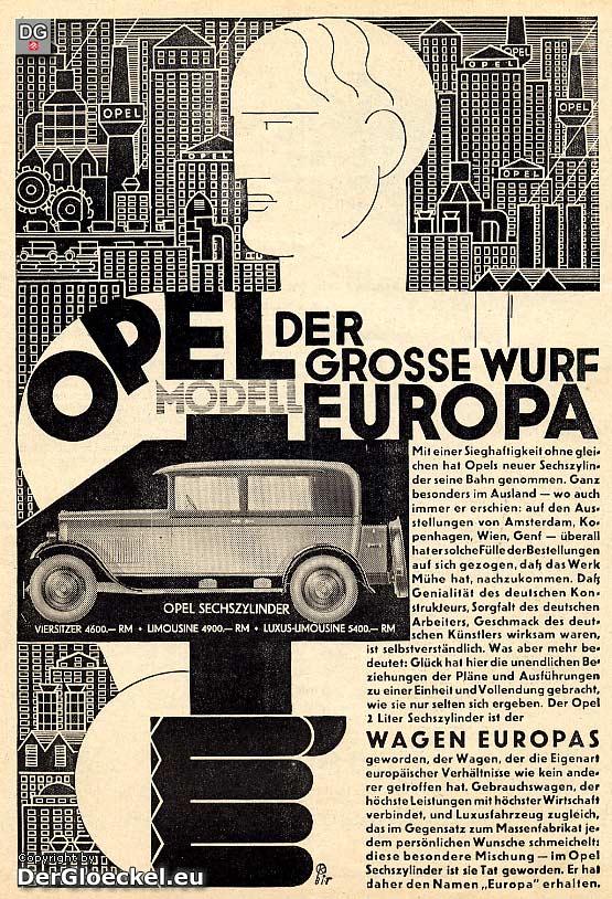 Originalwerbung vom April 1928 für OPEL, Modell EUROPA