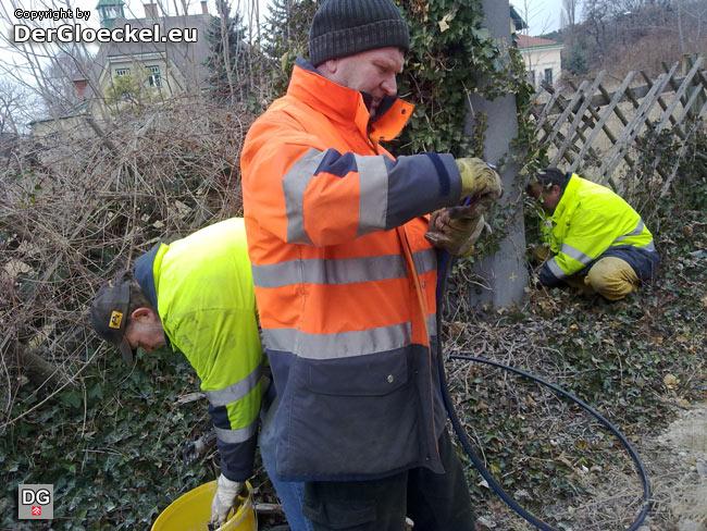 Mitarbeiter der ÖBB bei der Neuverlegung des Erdungskabels im Bereich Bad Deutsch-Altenburg | Foto: DerGloeckel.eu